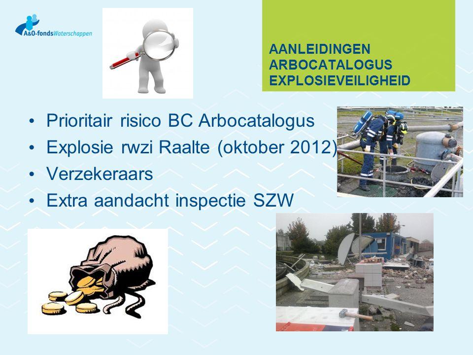 AANLEIDINGEN ARBOCATALOGUS EXPLOSIEVEILIGHEID Prioritair risico BC Arbocatalogus Explosie rwzi Raalte (oktober 2012) Verzekeraars Extra aandacht inspe