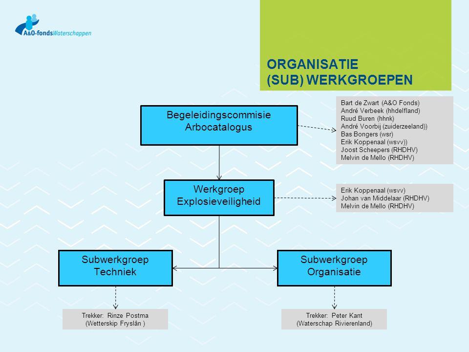 DE (SUB)WERKGROEPEN In totaal ongeveer 20 personen 14 waterschappen vertegenwoordigd Functies vertegenwoordigd op gebied van: Veiligheidskunde Arbo/milieu Leidinggevende Besturing/Electro Projecten/ontwerp Procesautomatisering Onderhoud Beheer Technologie