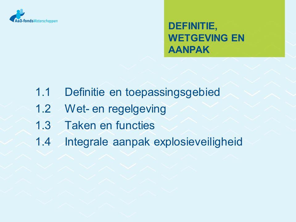 DEFINITIE, WETGEVING EN AANPAK 1.1Definitie en toepassingsgebied 1.2Wet- en regelgeving 1.3Taken en functies 1.4Integrale aanpak explosieveiligheid