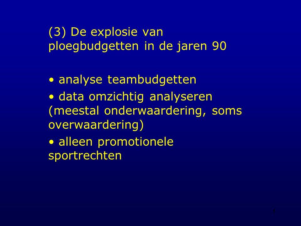 5 (3) De explosie van ploegbudgetten in de jaren 90 analyse teambudgetten data omzichtig analyseren (meestal onderwaardering, soms overwaardering) alleen promotionele sportrechten