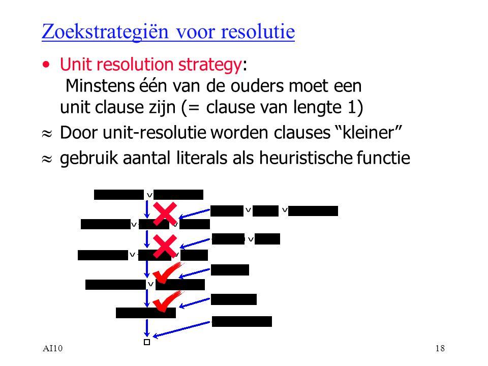 AI1018 Zoekstrategiën voor resolutie Unit resolution strategy: Minstens één van de ouders moet een unit clause zijn (= clause van lengte 1)  Door unit-resolutie worden clauses kleiner  gebruik aantal literals als heuristische functie