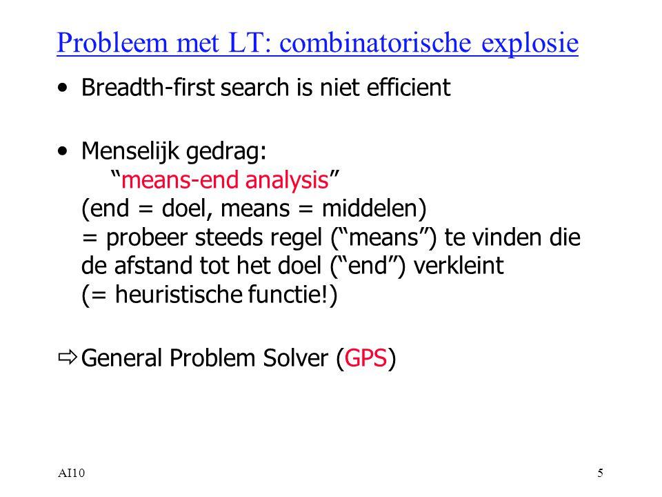 AI105 Probleem met LT: combinatorische explosie Breadth-first search is niet efficient Menselijk gedrag: means-end analysis (end = doel, means = middelen) = probeer steeds regel ( means ) te vinden die de afstand tot het doel ( end ) verkleint (= heuristische functie!)  General Problem Solver (GPS)