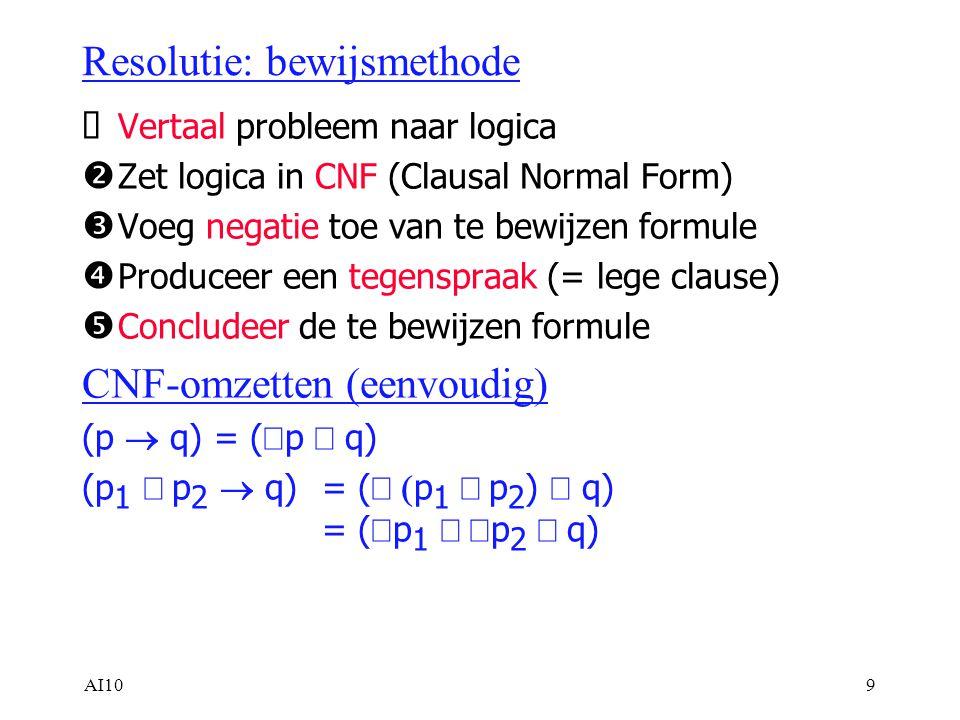 AI109 Resolutie: bewijsmethode  Vertaal probleem naar logica  Zet logica in CNF (Clausal Normal Form)  Voeg negatie toe van te bewijzen formule  Produceer een tegenspraak (= lege clause)  Concludeer de te bewijzen formule CNF-omzetten (eenvoudig) (p  q) = (  p  q) (p 1  p 2  q) = (  p 1  p 2 )  q) = (  p 1  p 2  q)