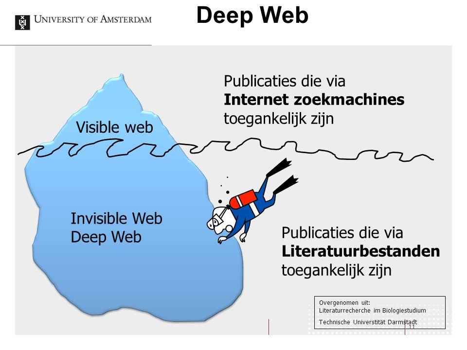 Deep Web 11 Visible web Invisible Web Deep Web Publicaties die via Internet zoekmachines toegankelijk zijn Publicaties die via Literatuurbestanden toegankelijk zijn Overgenomen uit: Literaturrecherche im Biologiestudium Technische Universtität Darmstadt