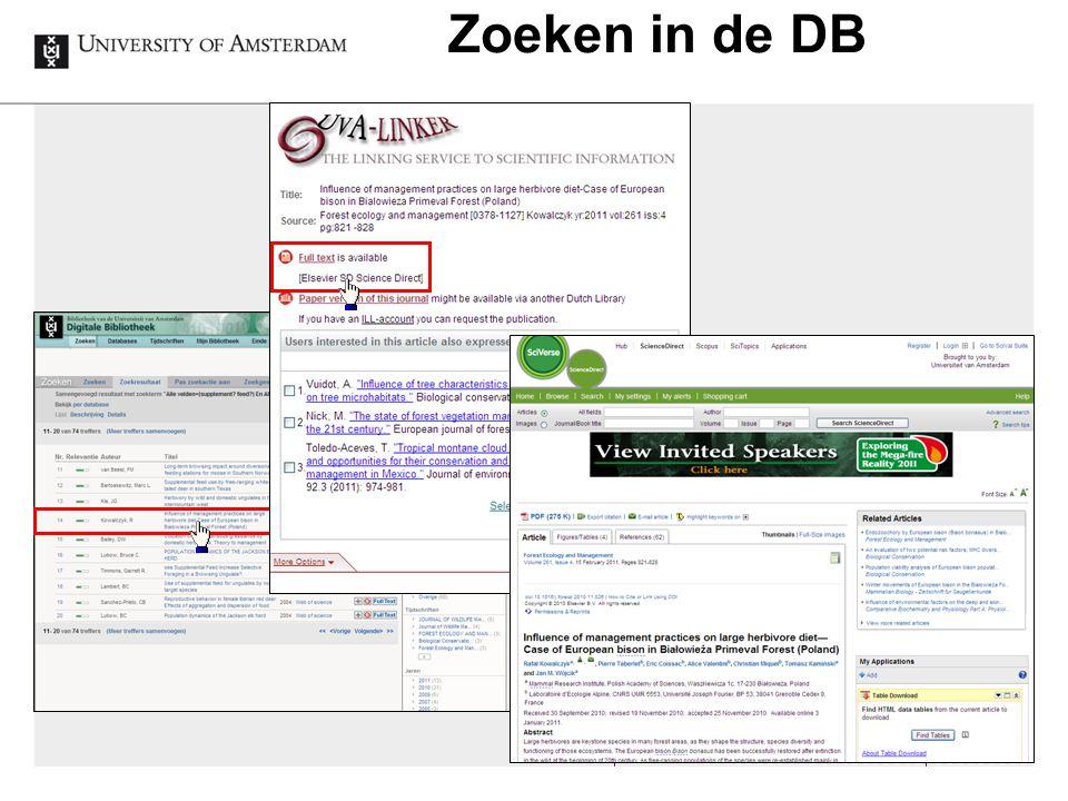 Zoeken in de DB 16