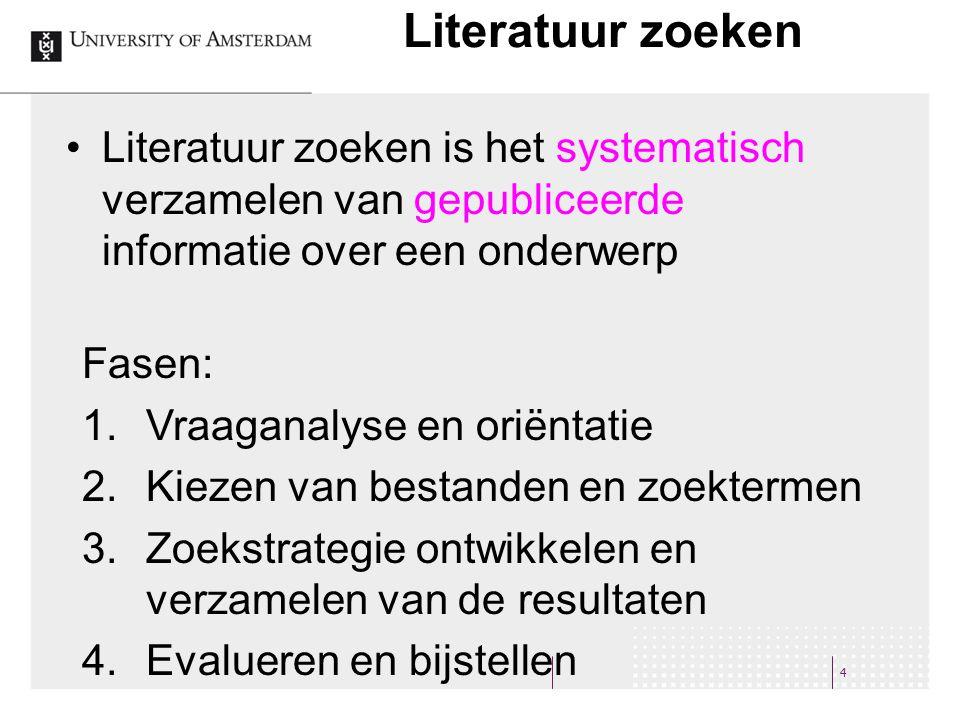 Literatuur zoeken 4 Literatuur zoeken is het systematisch verzamelen van gepubliceerde informatie over een onderwerp Fasen: 1.Vraaganalyse en oriëntat