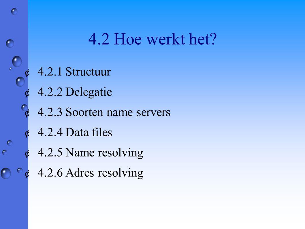 4.2 Hoe werkt het? ¢ 4.2.1 Structuur ¢ 4.2.2 Delegatie ¢ 4.2.3 Soorten name servers ¢ 4.2.4 Data files ¢ 4.2.5 Name resolving ¢ 4.2.6 Adres resolving