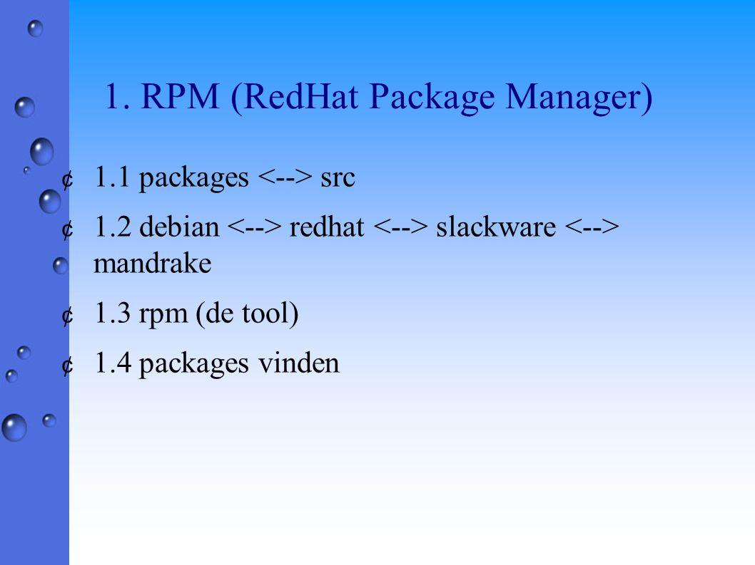 1. RPM (RedHat Package Manager) ¢ 1.1 packages src ¢ 1.2 debian redhat slackware mandrake ¢ 1.3 rpm (de tool) ¢ 1.4 packages vinden
