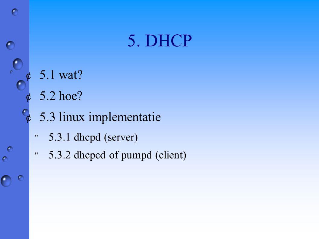 5. DHCP ¢ 5.1 wat? ¢ 5.2 hoe? ¢ 5.3 linux implementatie