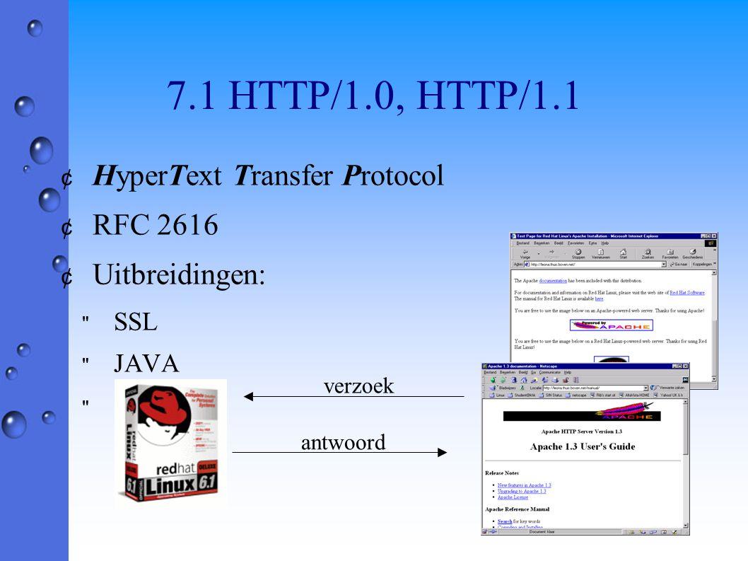 7.1 HTTP/1.0, HTTP/1.1 ¢ HyperText Transfer Protocol ¢ RFC 2616 ¢ Uitbreidingen: