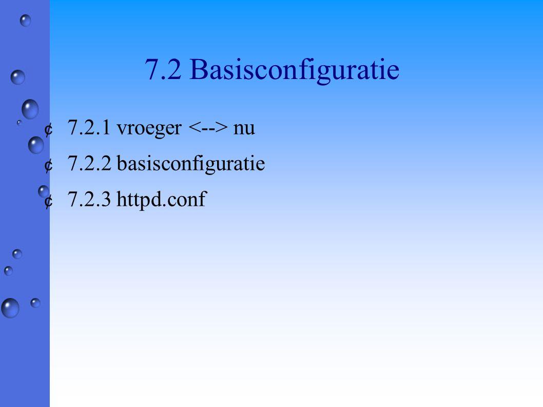7.2 Basisconfiguratie ¢ 7.2.1 vroeger nu ¢ 7.2.2 basisconfiguratie ¢ 7.2.3 httpd.conf
