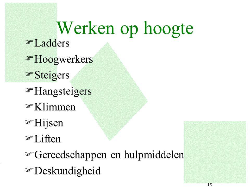 19 Werken op hoogte FLadders FHoogwerkers FSteigers FHangsteigers FKlimmen FHijsen FLiften FGereedschappen en hulpmiddelen FDeskundigheid