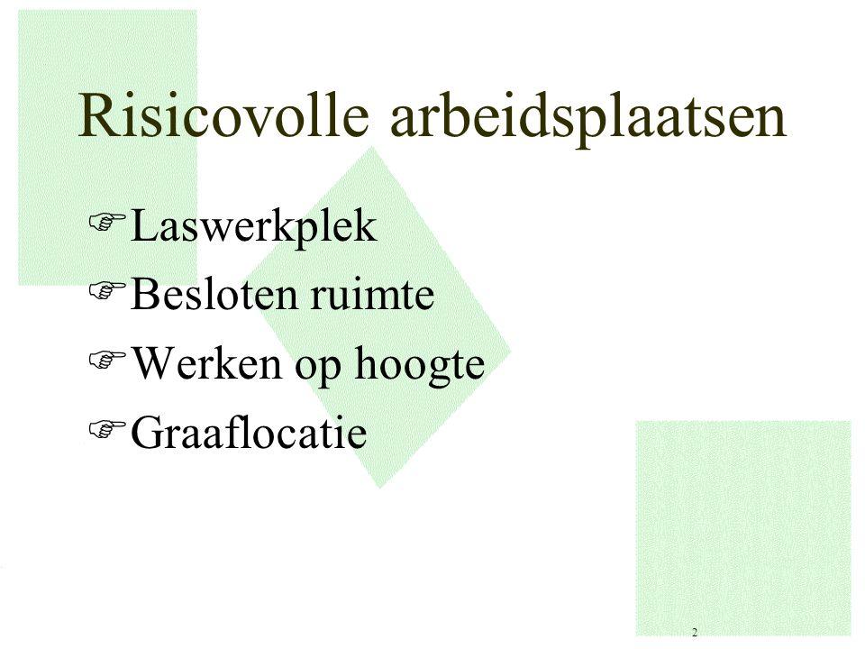 Risicovolle arbeidsplaatsen FLaswerkplek FBesloten ruimte FWerken op hoogte FGraaflocatie 2