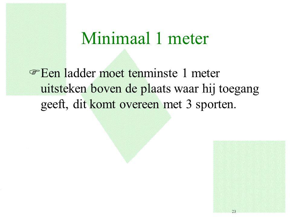 Minimaal 1 meter FEen ladder moet tenminste 1 meter uitsteken boven de plaats waar hij toegang geeft, dit komt overeen met 3 sporten. 23
