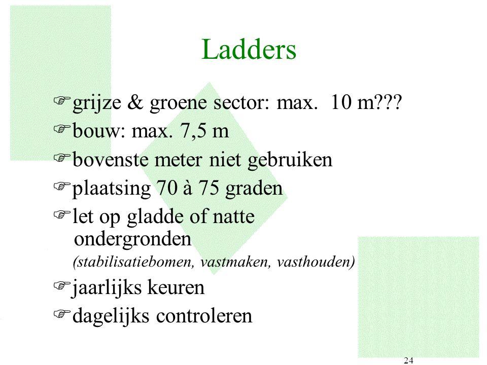 24 Ladders Fgrijze & groene sector: max. 10 m??? Fbouw: max. 7,5 m Fbovenste meter niet gebruiken Fplaatsing 70 à 75 graden Flet op gladde of natte on