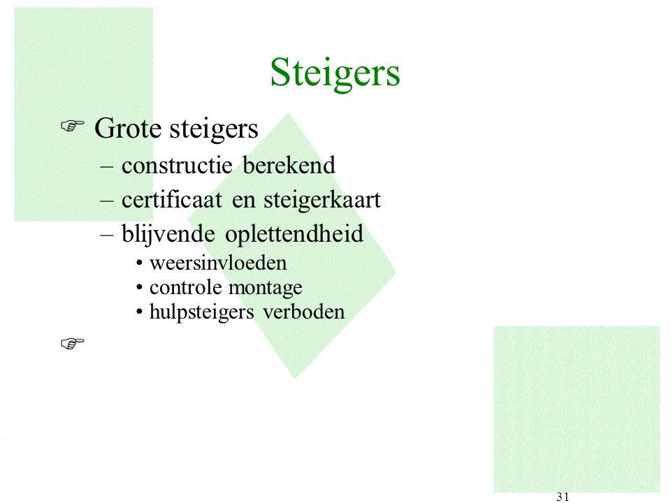 31 F Grote steigers –constructie berekend –certificaat en steigerkaart –blijvende oplettendheid weersinvloeden controle montage hulpsteigers verboden