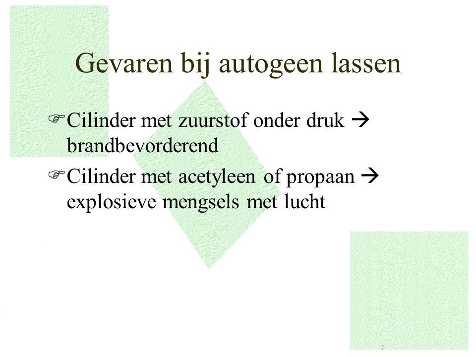 Gevaren bij autogeen lassen FCilinder met zuurstof onder druk  brandbevorderend FCilinder met acetyleen of propaan  explosieve mengsels met lucht 7
