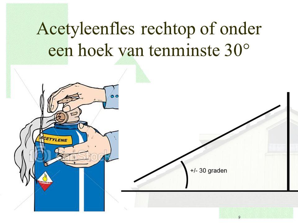 Acetyleenfles rechtop of onder een hoek van tenminste 30  9