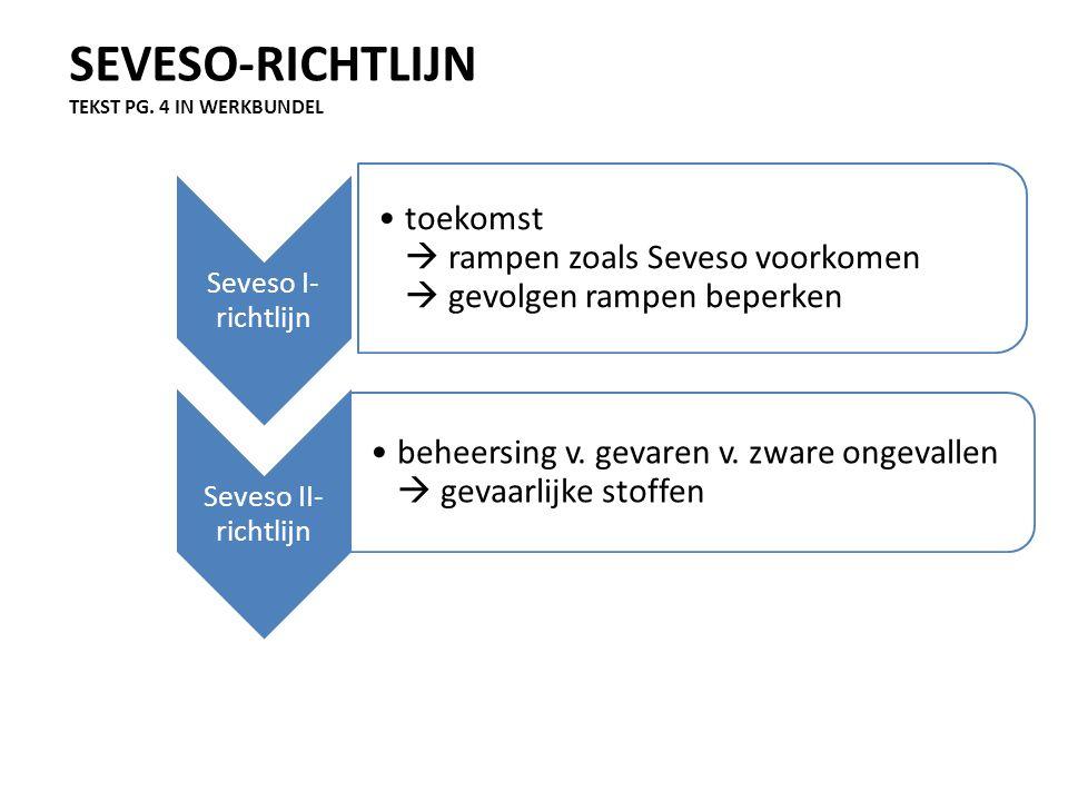 SEVESO-RICHTLIJN TEKST PG. 4 IN WERKBUNDEL Seveso I- richtlijn toekomst  rampen zoals Seveso voorkomen  gevolgen rampen beperken Seveso II- richtlij
