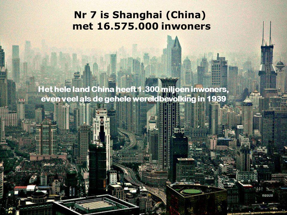 Nr 7 is Shanghai (China) met 16.575.000 inwoners Het hele land China heeft 1.300 miljoen inwoners, even veel als de gehele wereldbevolking in 1939