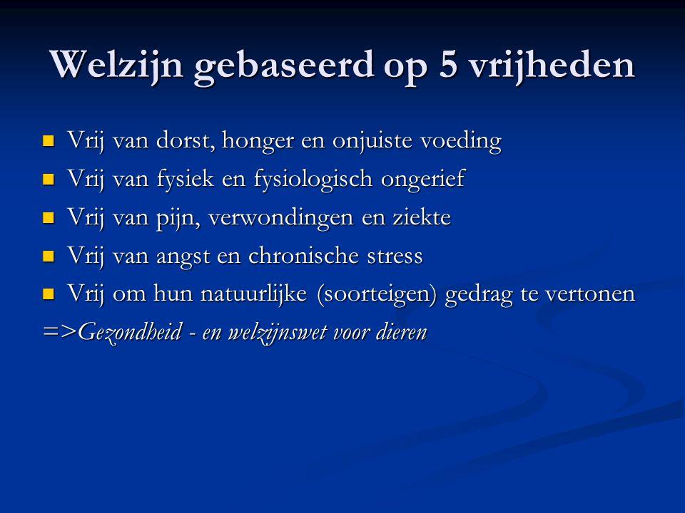 Welzijn gebaseerd op 5 vrijheden Vrij van dorst, honger en onjuiste voeding Vrij van dorst, honger en onjuiste voeding Vrij van fysiek en fysiologisch