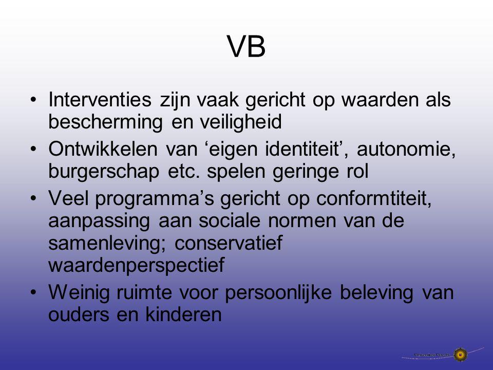 VB Interventies zijn vaak gericht op waarden als bescherming en veiligheid Ontwikkelen van 'eigen identiteit', autonomie, burgerschap etc.