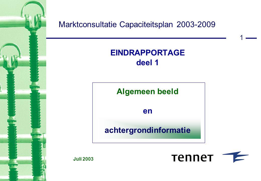 1 EINDRAPPORTAGE deel 1 Algemeen beeld en achtergrondinformatie Juli 2003 Marktconsultatie Capaciteitsplan 2003-2009