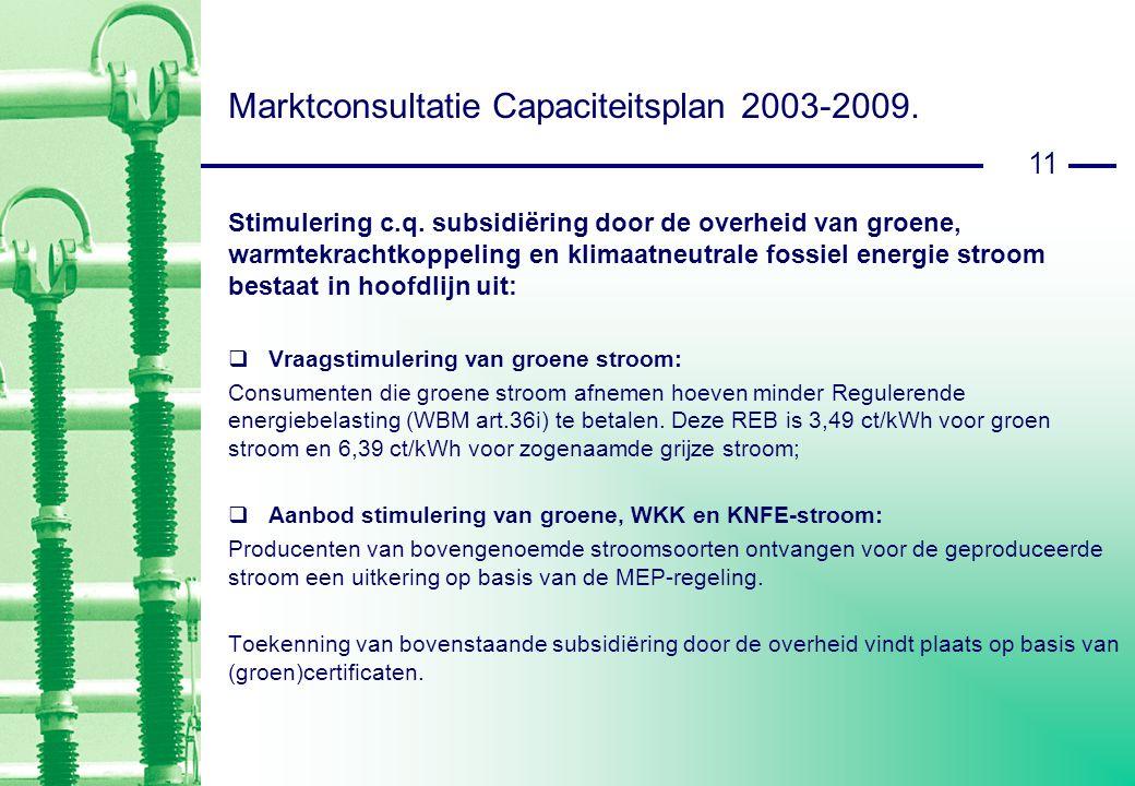 11 Marktconsultatie Capaciteitsplan 2003-2009. Stimulering c.q.