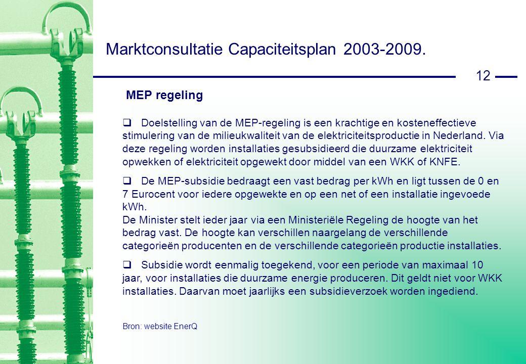 12 Marktconsultatie Capaciteitsplan 2003-2009.