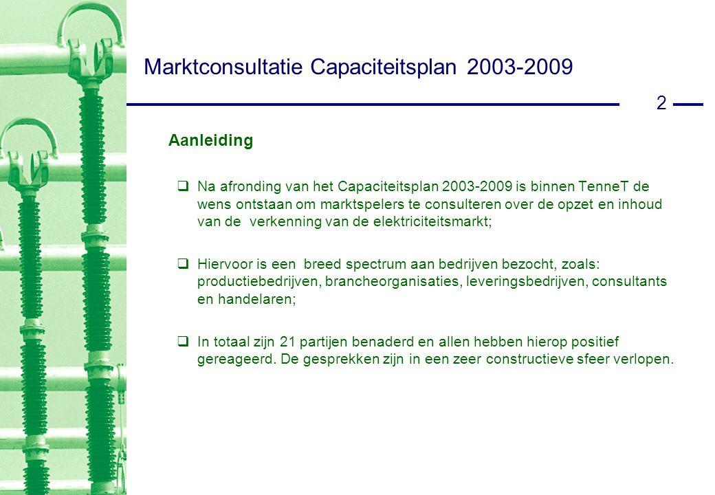 2 Aanleiding  Na afronding van het Capaciteitsplan 2003-2009 is binnen TenneT de wens ontstaan om marktspelers te consulteren over de opzet en inhoud van de verkenning van de elektriciteitsmarkt;  Hiervoor is een breed spectrum aan bedrijven bezocht, zoals: productiebedrijven, brancheorganisaties, leveringsbedrijven, consultants en handelaren;  In totaal zijn 21 partijen benaderd en allen hebben hierop positief gereageerd.