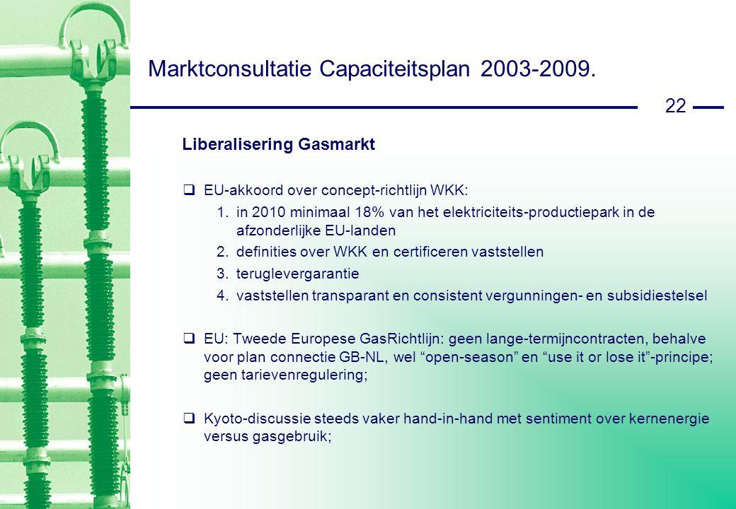 22 Marktconsultatie Capaciteitsplan 2003-2009.