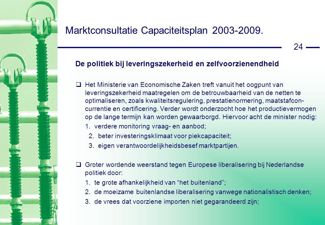 24 Marktconsultatie Capaciteitsplan 2003-2009.
