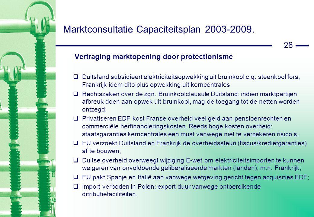 28 Marktconsultatie Capaciteitsplan 2003-2009.
