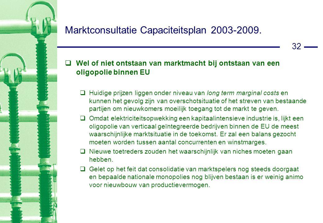 32 Marktconsultatie Capaciteitsplan 2003-2009.
