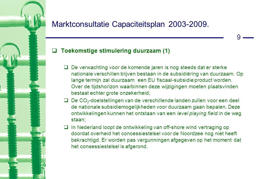 9 Marktconsultatie Capaciteitsplan 2003-2009.