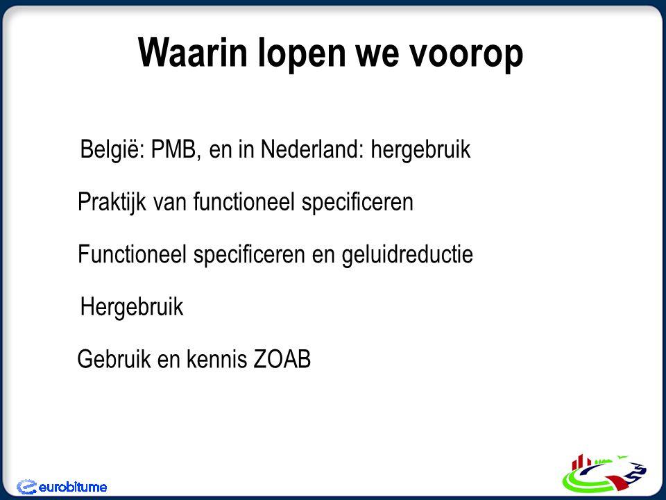 Waarin lopen we voorop België: PMB, en in Nederland: hergebruik Praktijk van functioneel specificeren Functioneel specificeren en geluidreductie Hergebruik Gebruik en kennis ZOAB