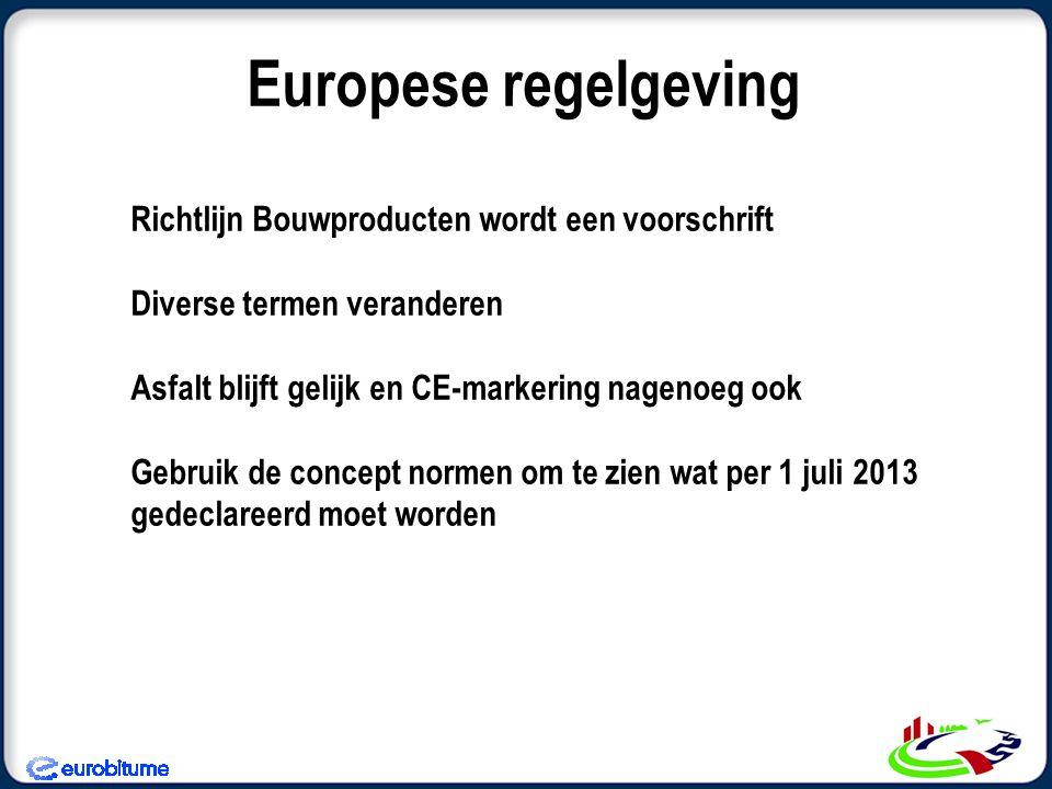 Richtlijn Bouwproducten wordt een voorschrift Diverse termen veranderen Asfalt blijft gelijk en CE-markering nagenoeg ook Gebruik de concept normen om te zien wat per 1 juli 2013 gedeclareerd moet worden Europese regelgeving