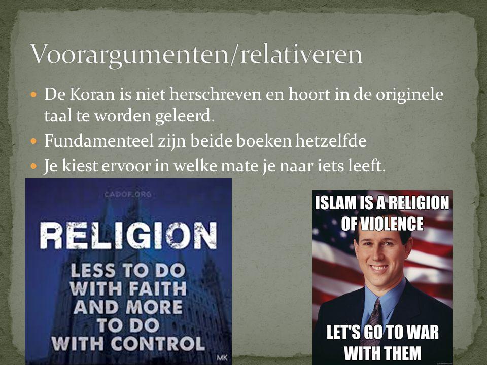 De Koran is niet herschreven en hoort in de originele taal te worden geleerd. Fundamenteel zijn beide boeken hetzelfde Je kiest ervoor in welke mate j