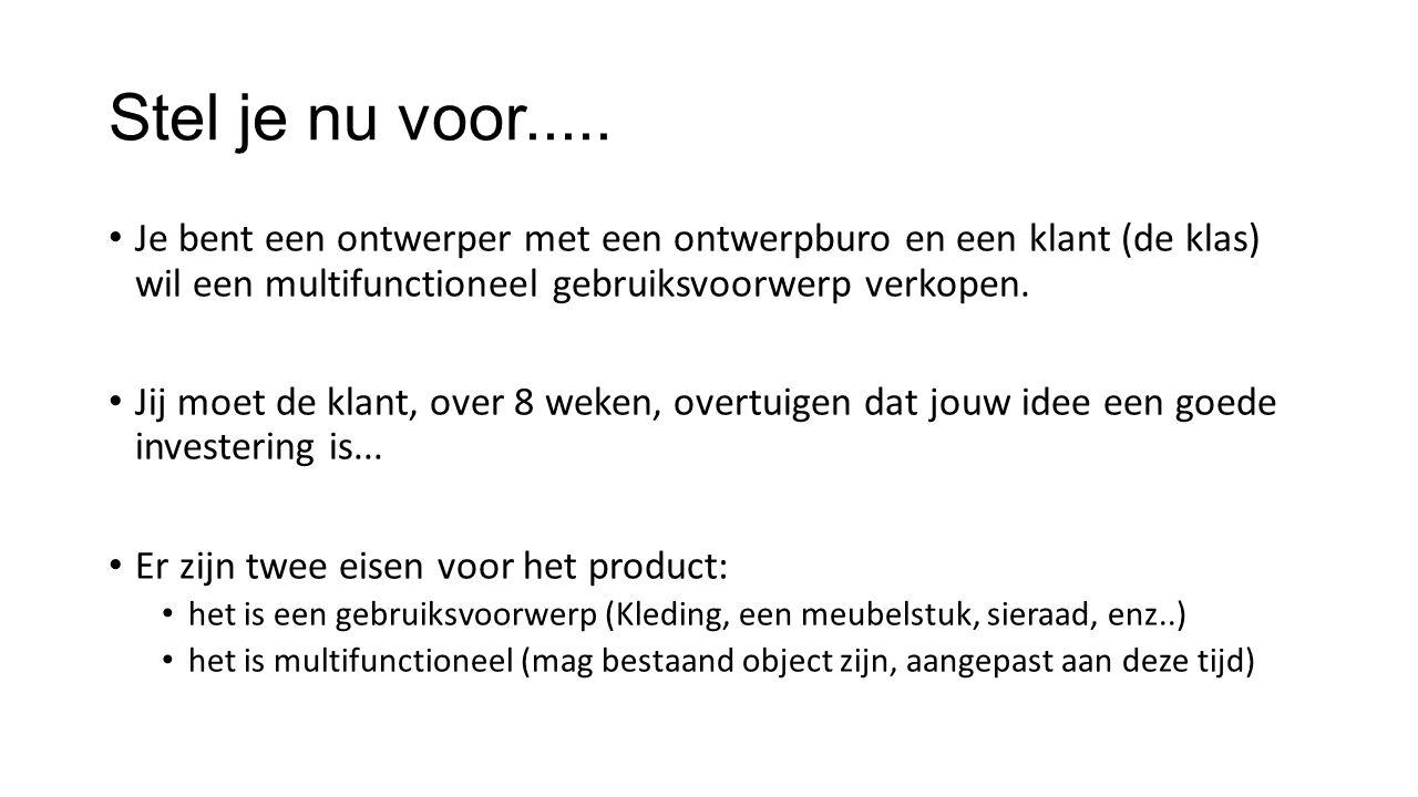 Planning per les Wk 10: Individueel ideeën uitwerken (5 schetsen); Wk 11: Moodboard +doelgroep uitwerken; Wk 12: Groepjes en definitieve keus object; Wk 13-16: Uitwerken van idee en reclame; Wk 17: presentatie ideeën.