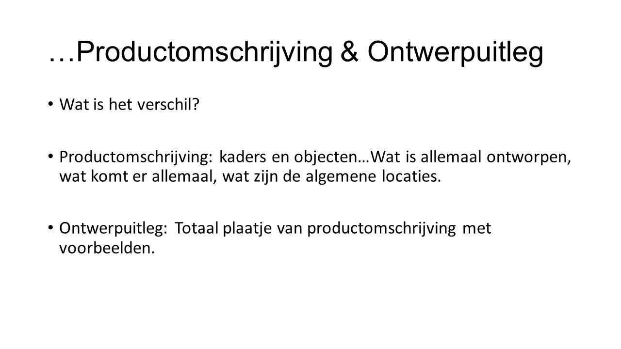 …Productomschrijving & Ontwerpuitleg Wat is het verschil? Productomschrijving: kaders en objecten…Wat is allemaal ontworpen, wat komt er allemaal, wat