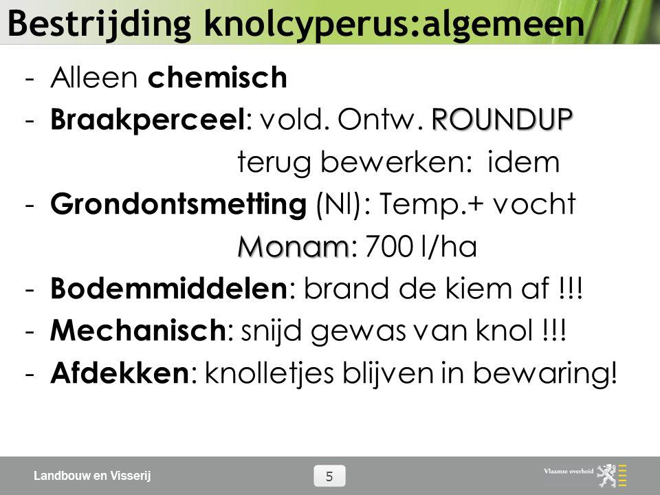 Landbouw en Visserij 5 Bestrijding knolcyperus:algemeen -Alleen chemisch ROUNDUP - Braakperceel : vold. Ontw. ROUNDUP terug bewerken: idem - Grondonts