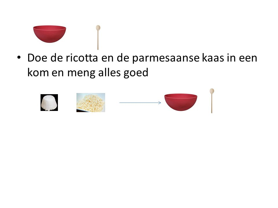 Doe de ricotta en de parmesaanse kaas in een kom en meng alles goed