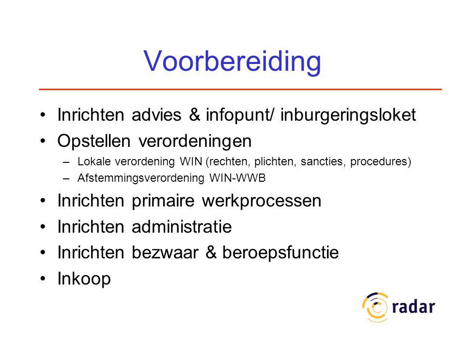 Voorbereiding Inrichten advies & infopunt/ inburgeringsloket Opstellen verordeningen –Lokale verordening WIN (rechten, plichten, sancties, procedures)