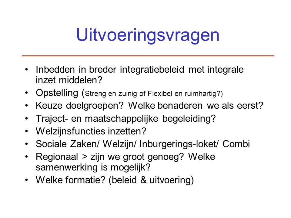 Uitvoeringsvragen Inbedden in breder integratiebeleid met integrale inzet middelen? Opstelling ( Streng en zuinig of Flexibel en ruimhartig?) Keuze do