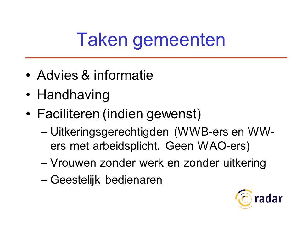 Taken gemeenten Advies & informatie Handhaving Faciliteren (indien gewenst) –Uitkeringsgerechtigden (WWB-ers en WW- ers met arbeidsplicht. Geen WAO-er