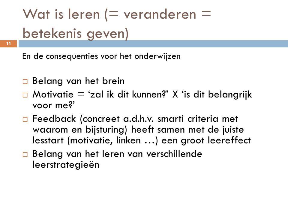 Wat is leren (= veranderen = betekenis geven) 11 En de consequenties voor het onderwijzen  Belang van het brein  Motivatie = 'zal ik dit kunnen?' X