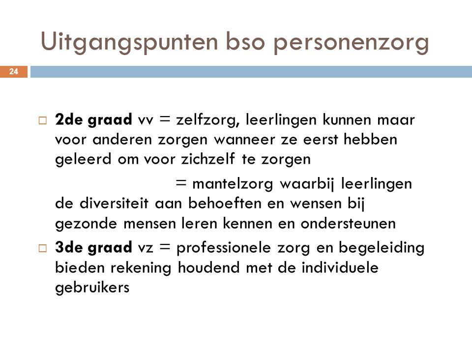 Uitgangspunten bso personenzorg 24  2de graad vv = zelfzorg, leerlingen kunnen maar voor anderen zorgen wanneer ze eerst hebben geleerd om voor zichz