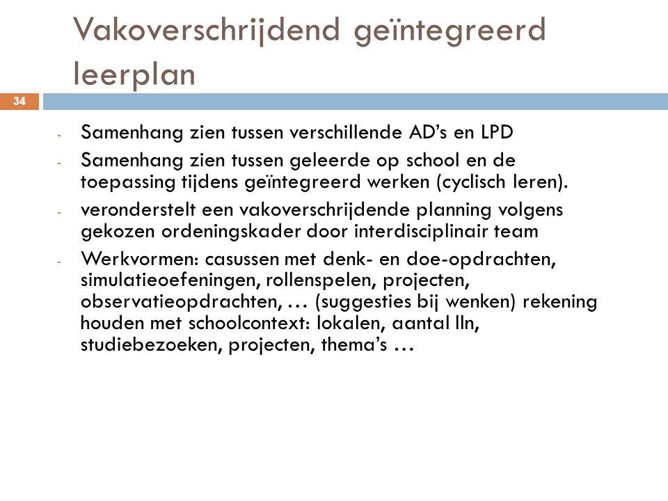 Vakoverschrijdend geïntegreerd leerplan 34 - Samenhang zien tussen verschillende AD's en LPD - Samenhang zien tussen geleerde op school en de toepassi
