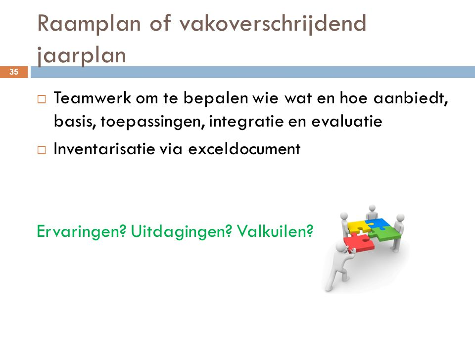 Raamplan of vakoverschrijdend jaarplan 35  Teamwerk om te bepalen wie wat en hoe aanbiedt, basis, toepassingen, integratie en evaluatie  Inventarisa