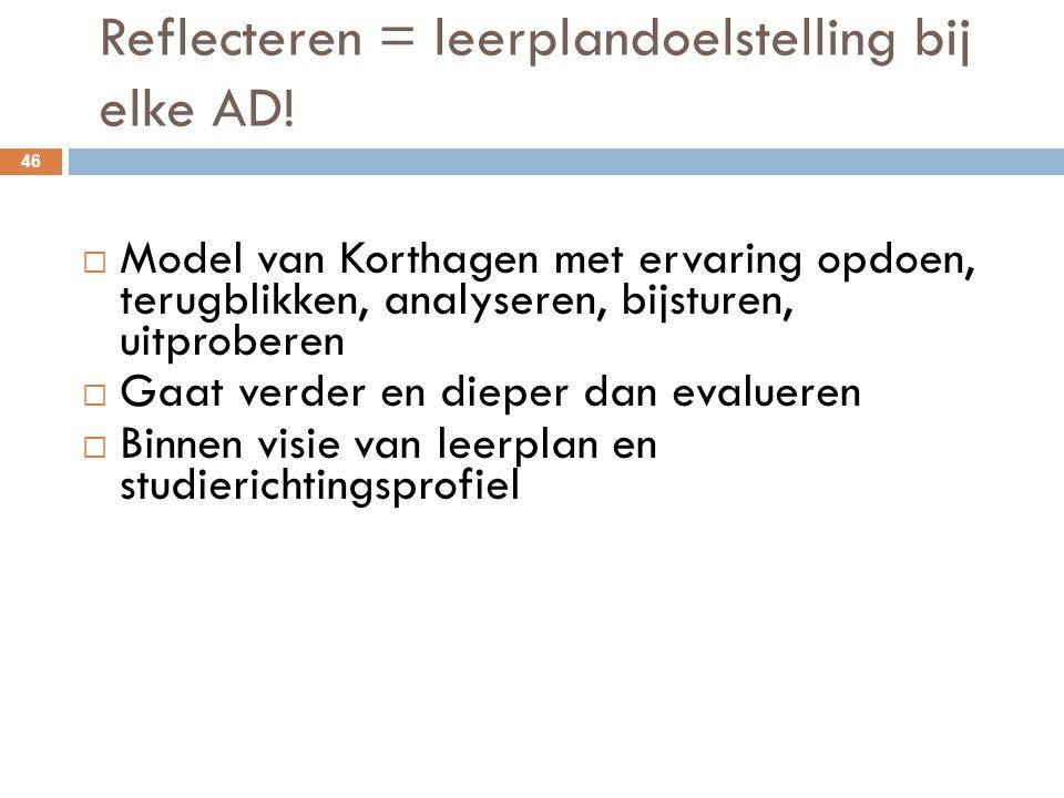 Reflecteren = leerplandoelstelling bij elke AD! 46  Model van Korthagen met ervaring opdoen, terugblikken, analyseren, bijsturen, uitproberen  Gaat